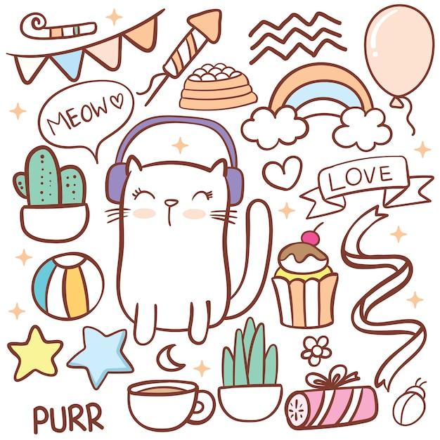 Objeto bonito de gato e aniversário doodle Vetor Premium