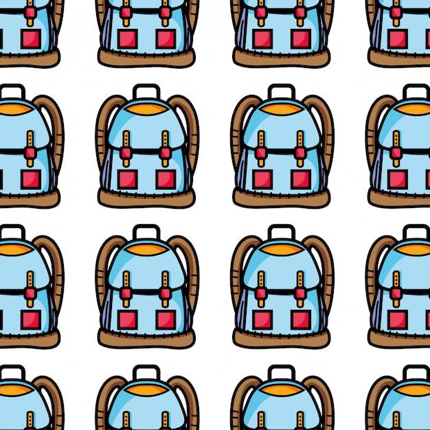Objeto de mochila com design de bolsos e fechos Vetor Premium