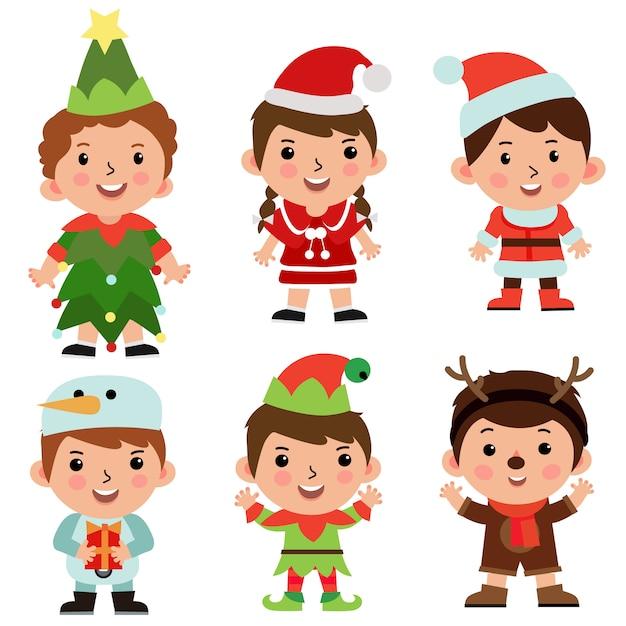 Objeto de personagem de desenho animado crianças conjunto traje de natal Vetor Premium