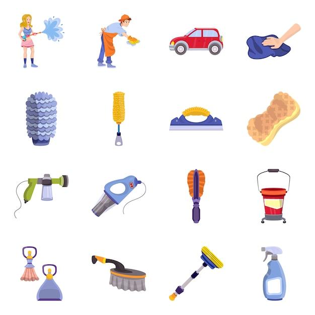 Objeto isolado limpo e símbolo de lavagem de carros. coloque o material limpo e de manutenção. Vetor Premium