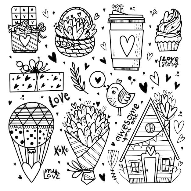 Objetos de amor desenhados a mão Vetor Premium