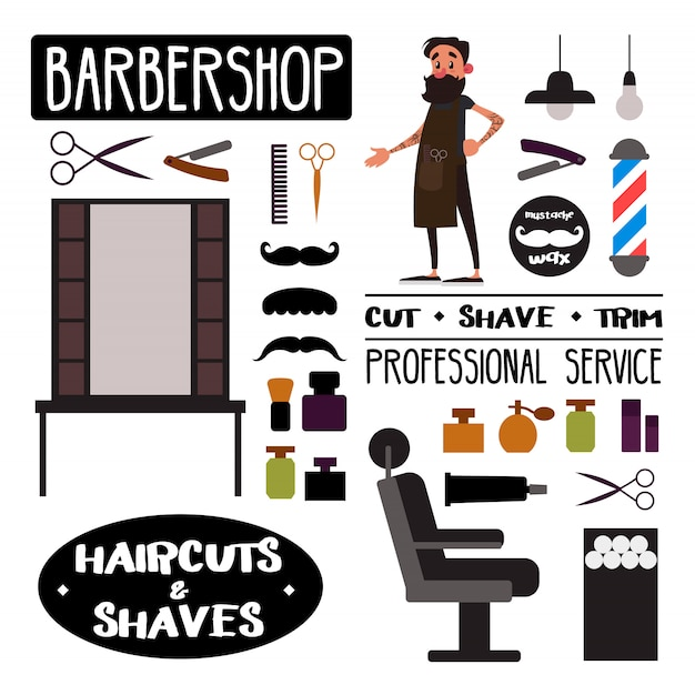 Objetos de barbearia, elementos e suprimentos definido e personagem de barbeiro. Vetor Premium