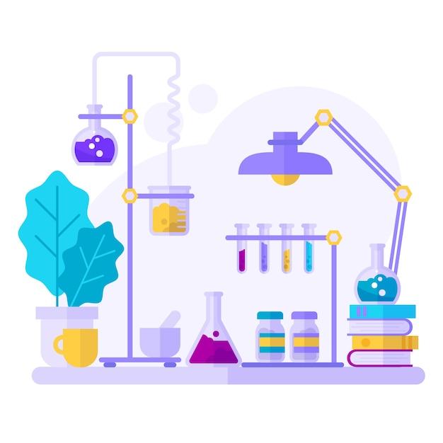 Objetos de ciência em aquarela em laboratório Vetor grátis
