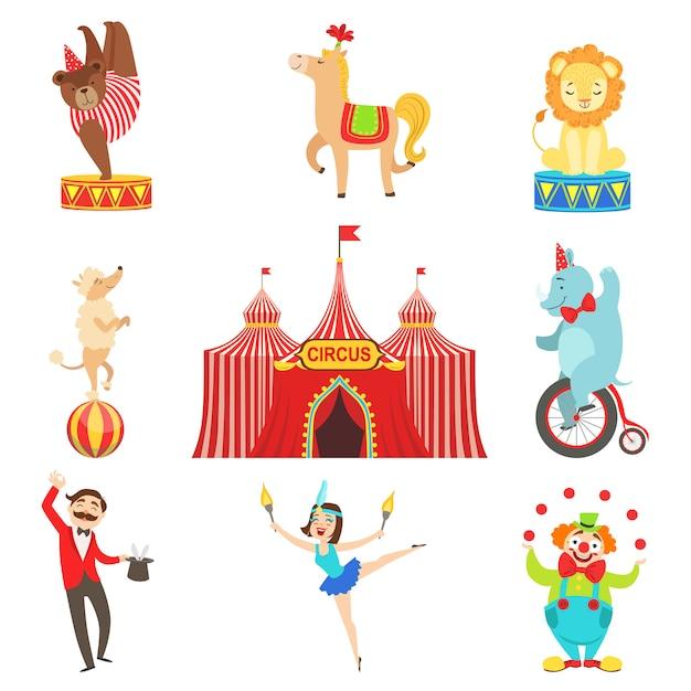 Objetos de desempenho de circo e conjunto de caracteres Vetor Premium