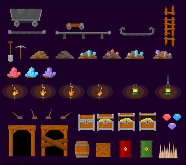 Objetos de jogo de minas subterrâneas Vetor Premium