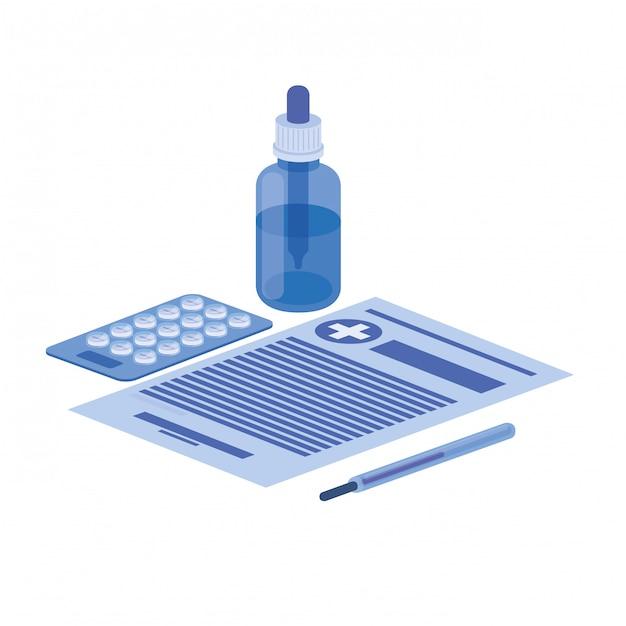 Objetos de medicina em branco Vetor Premium
