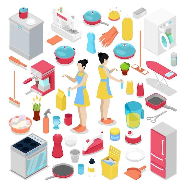 Objetos de trabalho doméstico isométricos com ilustração de dona de casa Vetor Premium