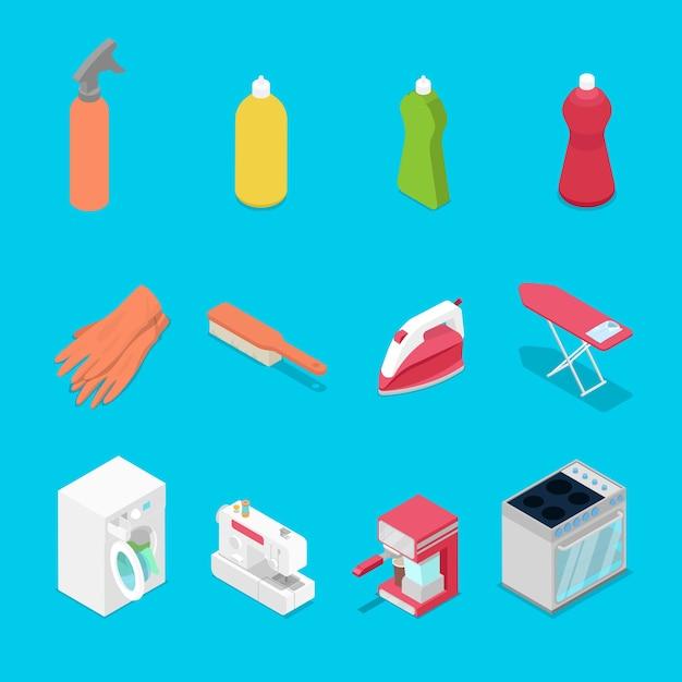 Objetos de trabalho doméstico isométricos com ilustração de spray Vetor Premium