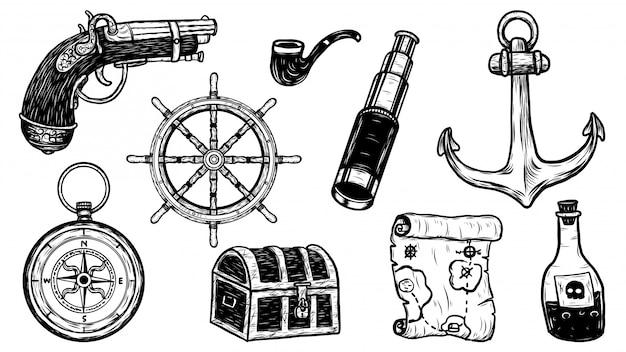 Objetos do pirata set vector à mão de desenho. Vetor Premium