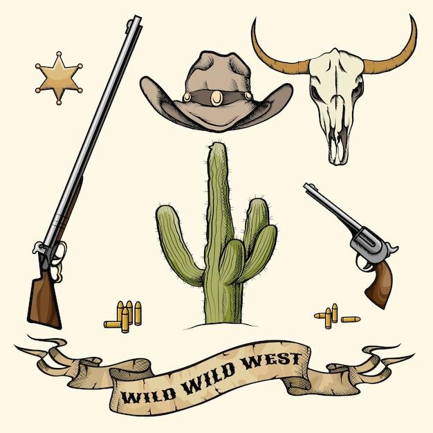Objetos do velho oeste. chapéu de caubói, arma e munição, crânio de cacto e búfalo, distintivo de xerife. ilustração vetorial Vetor Premium