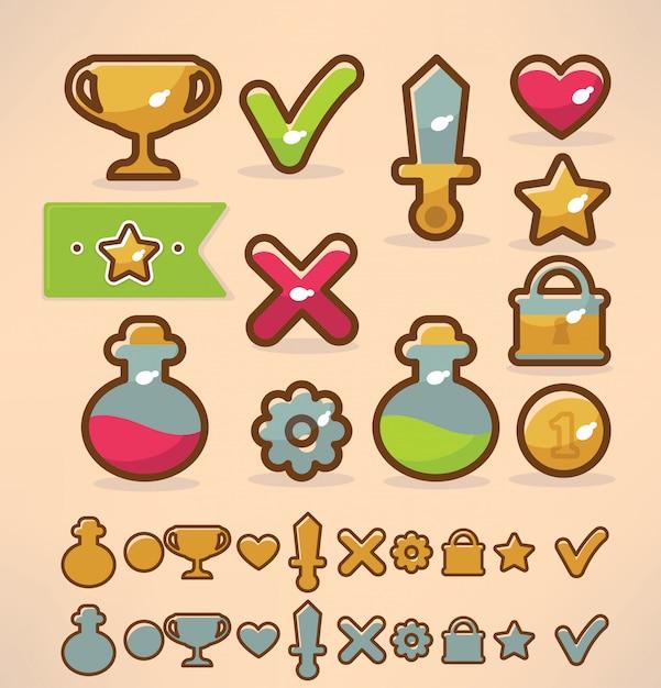 Objetos e ícones de elementos de design de jogos Vetor Premium