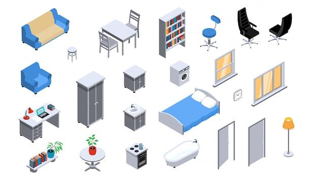 Objetos interiores aparelhos móveis iluminação isométrica ícones definido com sofá-cama estante cadeira de escritório forno Vetor grátis