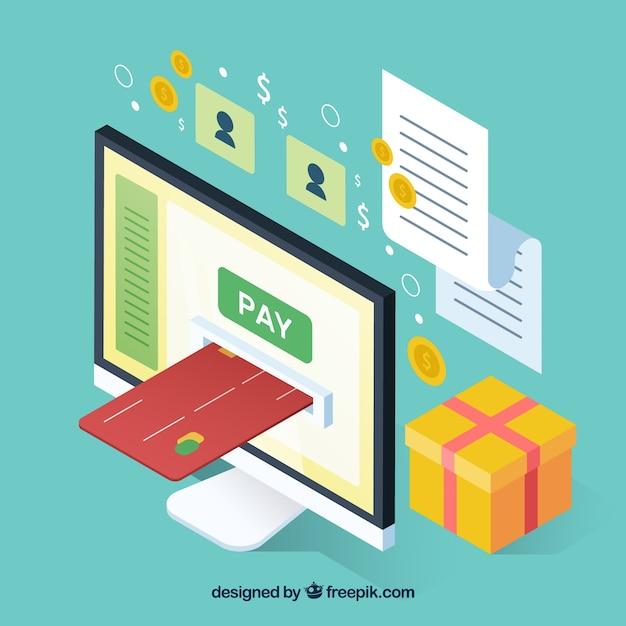 Objetos isométricos sobre o pagamento on-line Vetor grátis