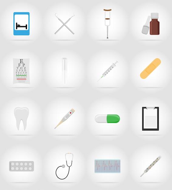 Objetos médicos e ilustração de ícones plana de equipamento Vetor Premium