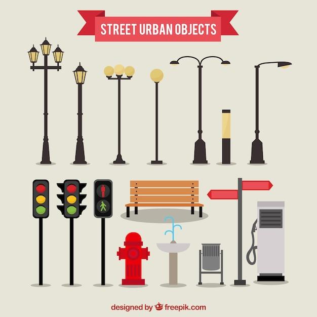 Objetos urbanos Vetor grátis