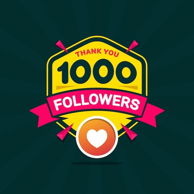 Obrigado 1000 seguidores bandeira de felicitações Vetor Premium