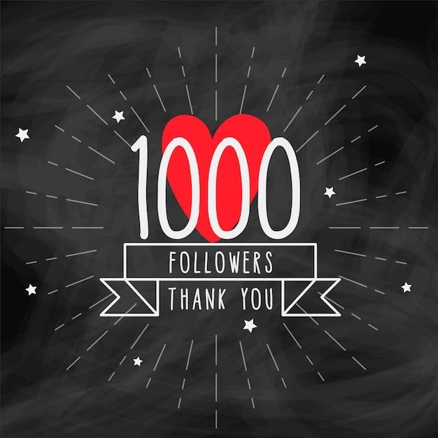 Obrigado 1000 seguidores modelo de doodle Vetor grátis