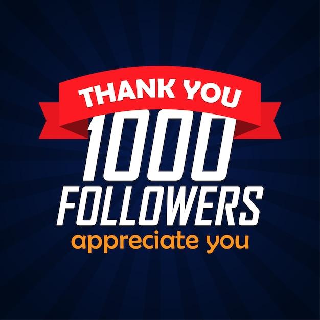 Obrigado 1000 seguidores parabéns. ilustração vetorial Vetor Premium