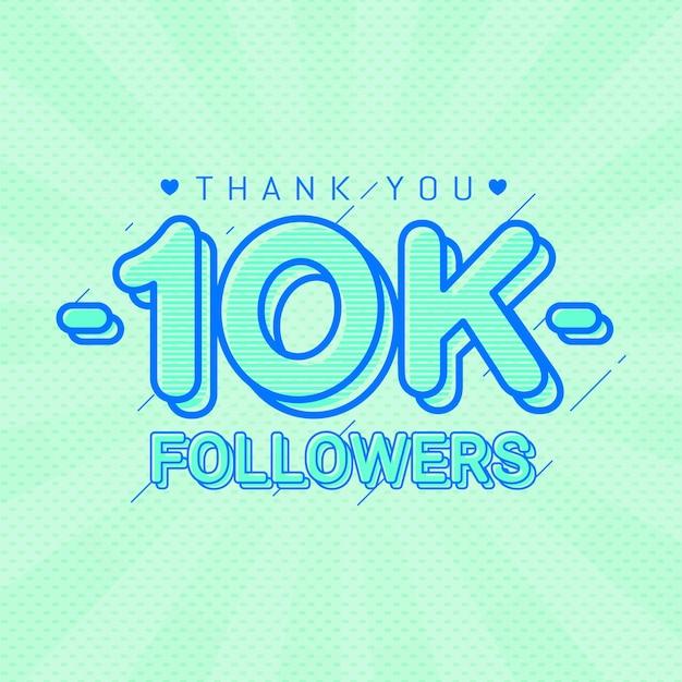 Obrigado 10k seguidores bandeira de parabéns Vetor Premium