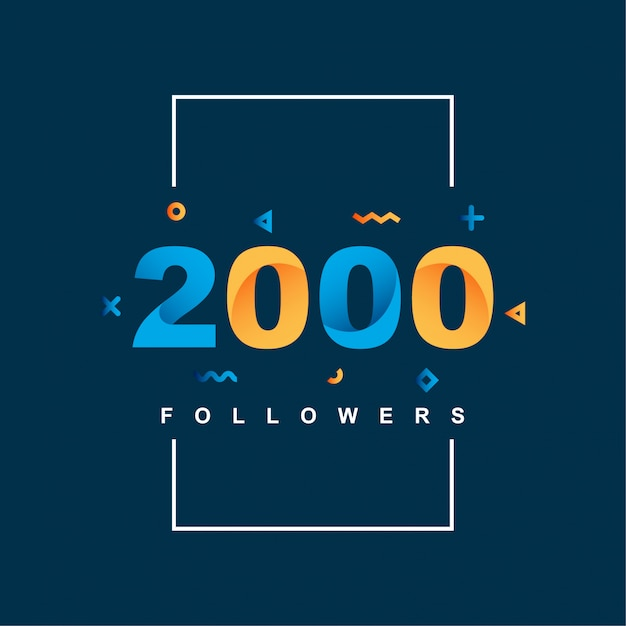 Obrigado 2000 seguidores Vetor Premium