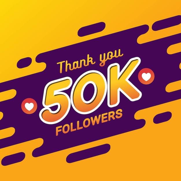 Obrigado 50 mil seguidores bandeira de felicitações Vetor Premium