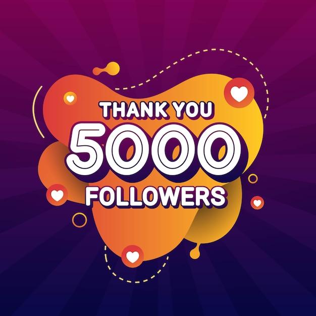 Obrigado 5000 seguidores parabéns banner Vetor Premium
