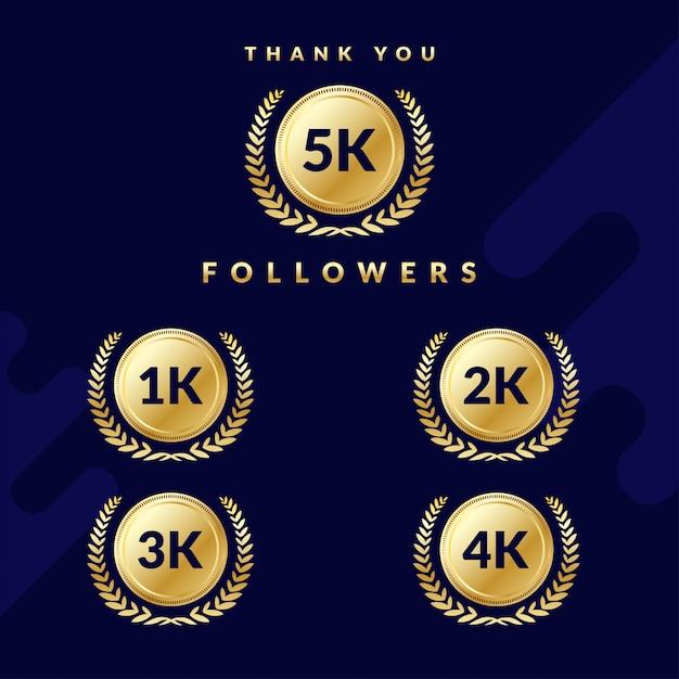 Obrigado 5k seguidores. conjunto de emblemas para seguidores de 1k, 2k, 3k ou 4k. design elegante Vetor Premium