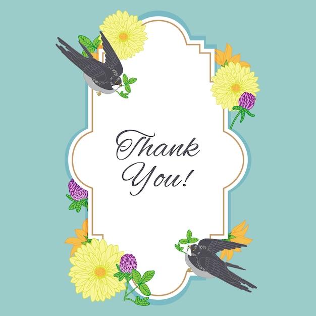 Obrigado cartão de moldura com flores e pássaros vintage Vetor Premium