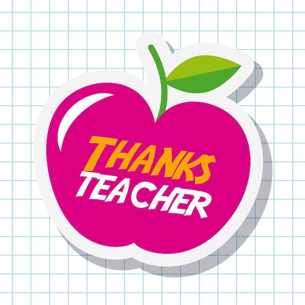 Obrigado cartão de professor grande festa de maçã rosa Vetor Premium