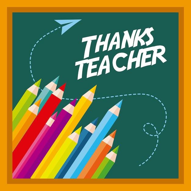 Obrigado cartão do professor saudação cores quadro-negro Vetor Premium