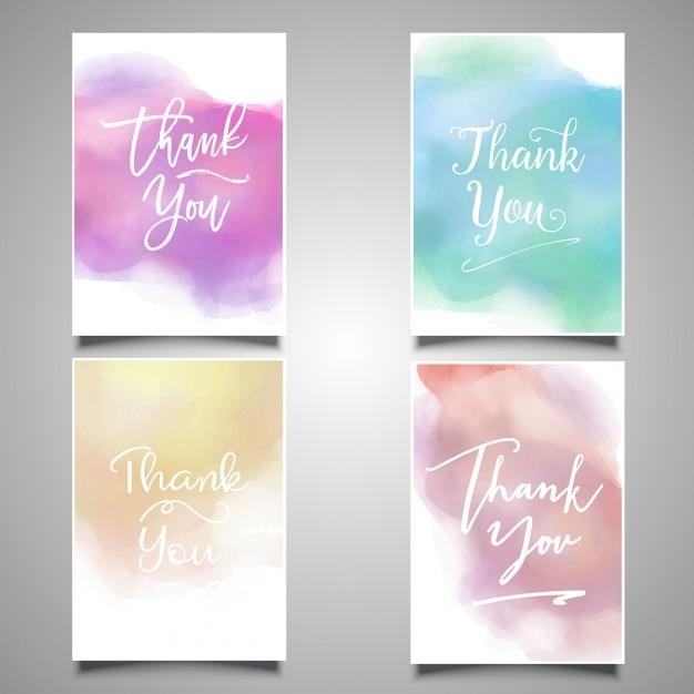 Obrigado coleção de cartões com desenhos de aquarela Vetor grátis