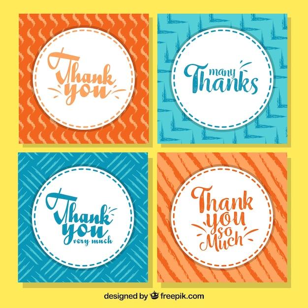 Obrigado coleção de cartões Vetor grátis