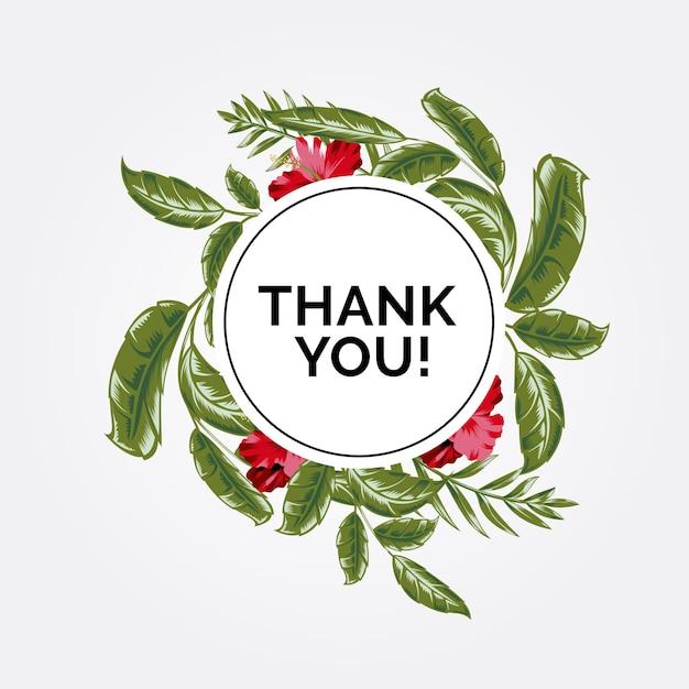 Obrigado! com flores e folhas Vetor Premium