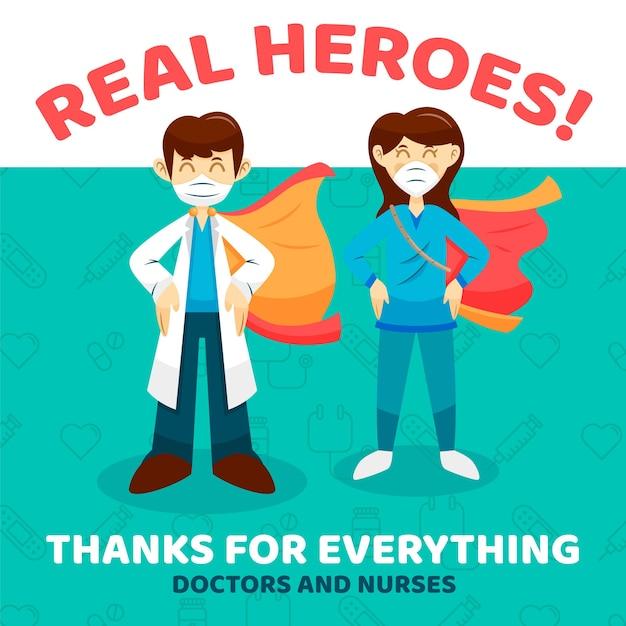 Obrigado enfermeiros e médicos mensagem de apoio Vetor grátis