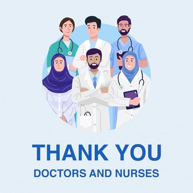 Obrigado frontliners, ilustração de médicos muçulmanos e enfermeiros banner. Vetor Premium