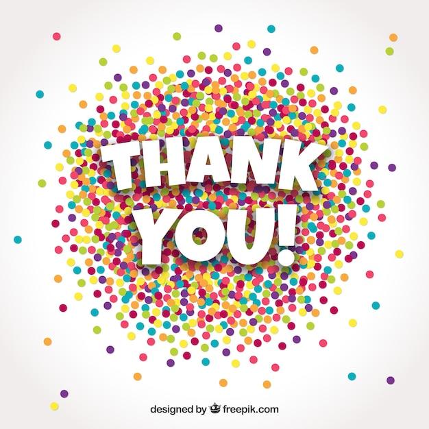Obrigado fundo com confetes coloridos Vetor grátis