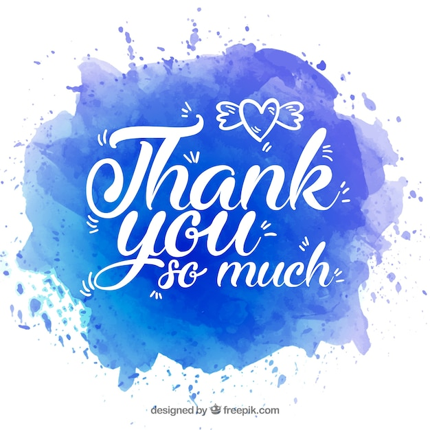 Obrigado fundo com letras em mancha de aquarela Vetor grátis