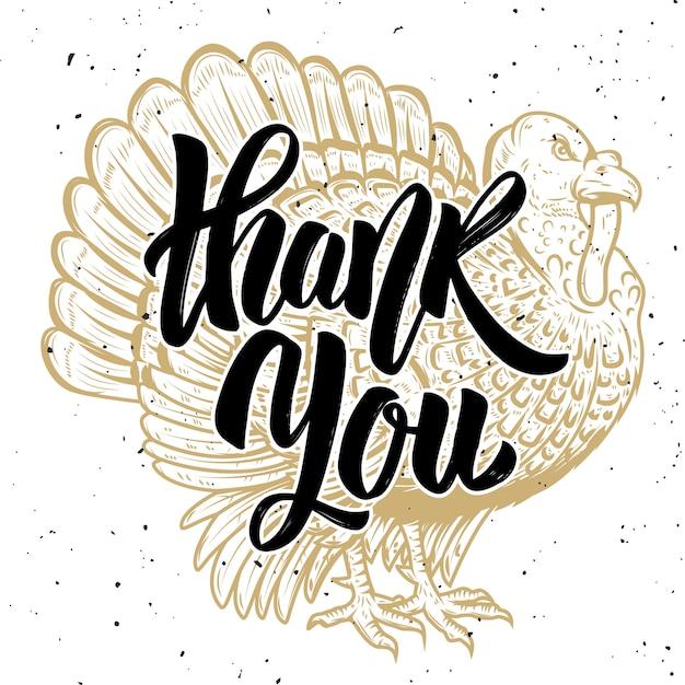 Obrigado. ilustração da turquia em fundo branco. tema de ação de graças. elemento para cartaz, cartão. ilustração Vetor Premium