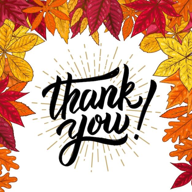 Obrigado. mão desenhada letras frase sobre fundo com folhas de outono. ilustração. Vetor Premium