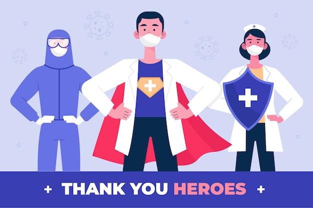 Obrigado médicos e enfermeiros conceito Vetor grátis