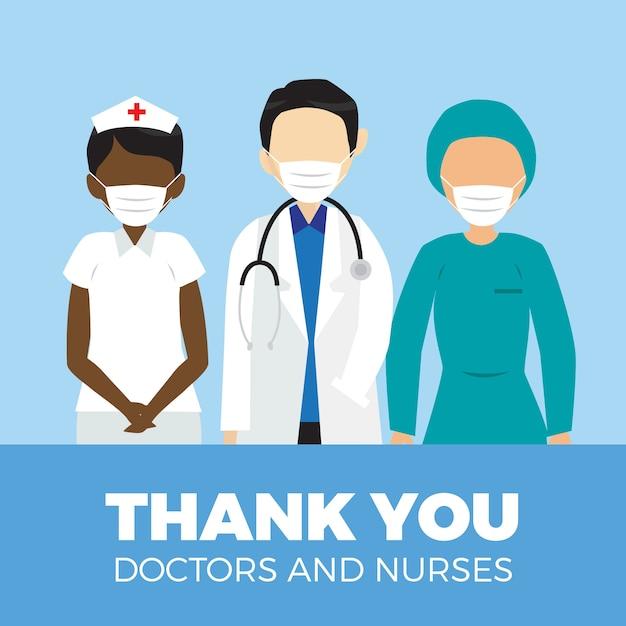 Obrigado médicos e enfermeiros estilo de mensagem Vetor Premium