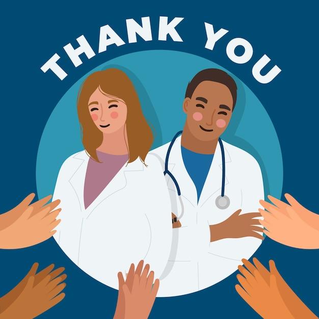 Obrigado, médicos e enfermeiros ilustração conceito Vetor Premium