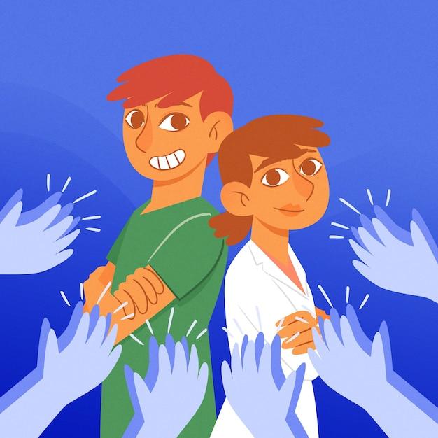 Obrigado médicos e enfermeiros ilustração tema Vetor grátis