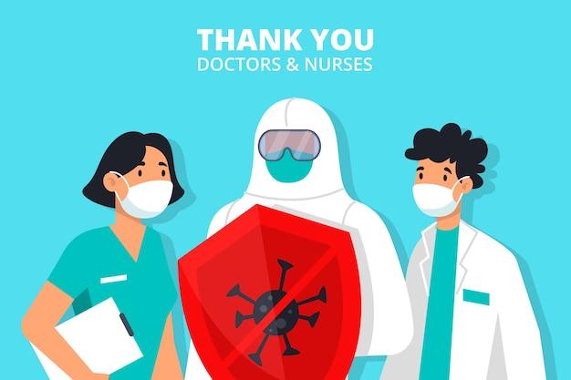 Obrigado médicos e enfermeiros ilustração Vetor grátis