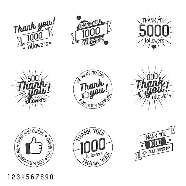 Obrigado pelo grupo de etiqueta dos seguidores isolado no branco. Vetor Premium