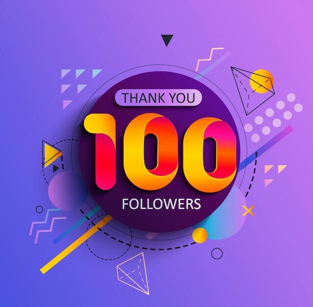 Obrigado pelos primeiros 100 seguidores Vetor Premium