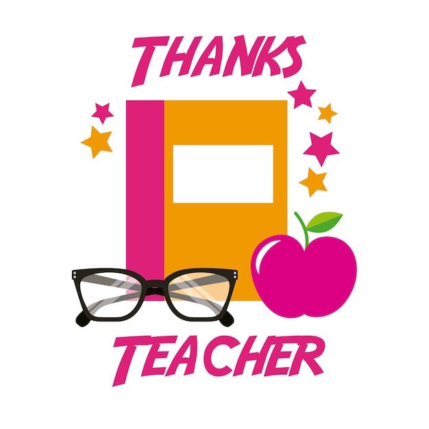 Obrigado professor card livro maçã óculos Vetor Premium