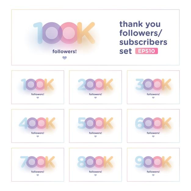 Obrigado seguidor conjunto com fundo colorido Vetor Premium