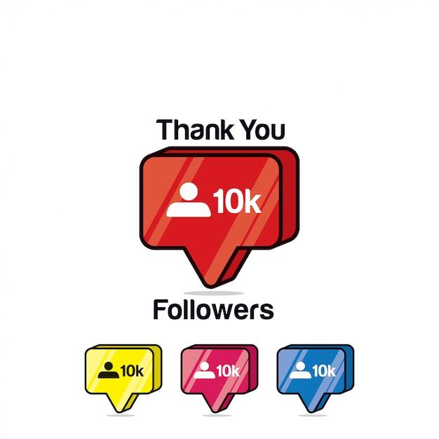 Obrigado seguidores 10k. instagram como, ícone isométrico Vetor Premium