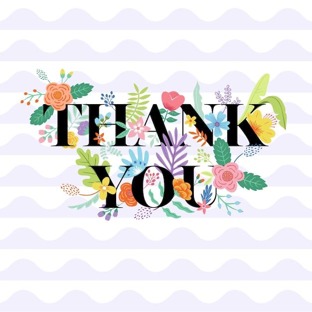 Obrigado tipografia floral Vetor Premium